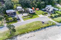 Taupo Bay Beach House from above